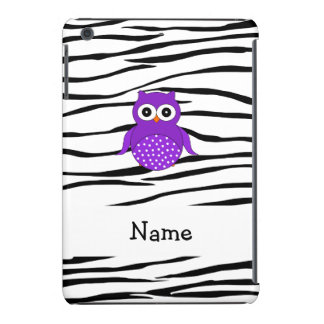 Personalized name purple owl zebra stripes iPad mini retina cover