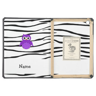 Personalized name purple owl zebra stripes cover for iPad air