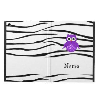 Personalized name purple owl zebra stripes iPad air cover