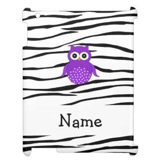 Personalized name purple owl zebra stripes cover for the iPad 2 3 4