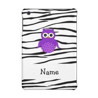 Personalized name purple owl zebra stripes iPad mini cover