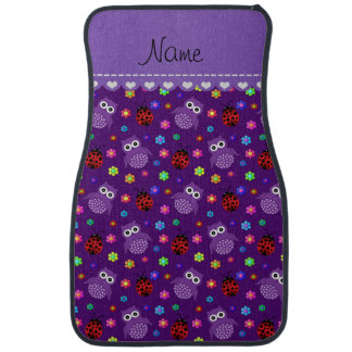 Personalized name purple owls flowers ladybugs car floor mat