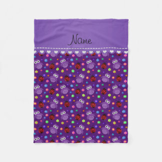 Personalized name purple owls flowers ladybugs fleece blanket