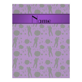 """Personalized name purple paintball pattern 8.5"""" x 11"""" flyer"""
