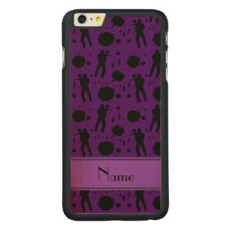 Personalized name purple paintball pattern carved® maple iPhone 6 plus case