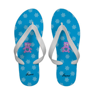 Personalized name purple panda blue flowers sandals