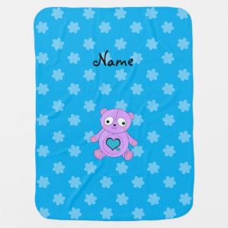 Personalized name purple panda blue flowers baby blankets