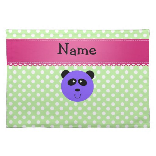Personalized name purple panda face place mat
