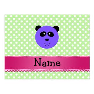 Personalized name purple panda face postcard