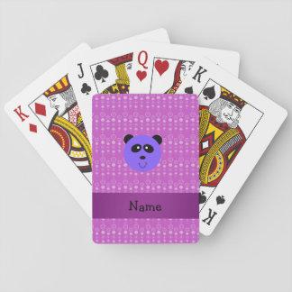 Personalized name purple panda head purple bubbles card decks