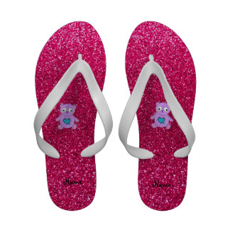 Personalized name purple panda pink glitter sandals