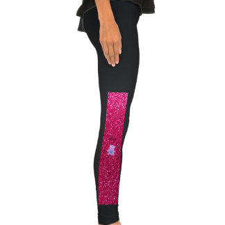 Personalized name purple panda pink glitter legging