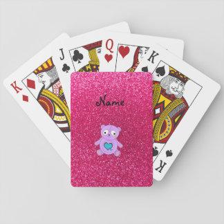 Personalized name purple panda pink glitter card decks
