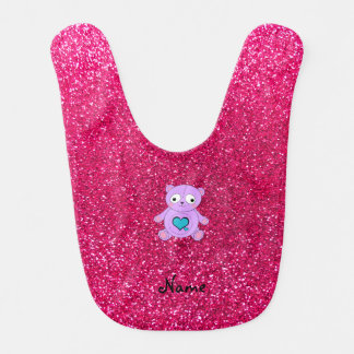 Personalized name purple panda pink glitter bibs