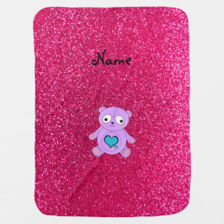 Personalized name purple panda pink glitter swaddle blanket