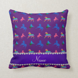 Personalized name purple patterned horses throw pillow