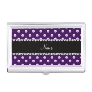 Personalized name purple pearls case for business cards