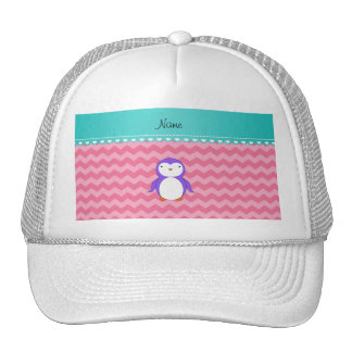 Personalized name purple penguin pink chevrons trucker hat