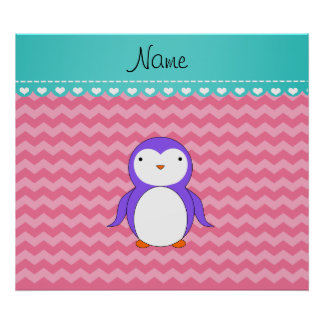Personalized name purple penguin pink chevrons posters