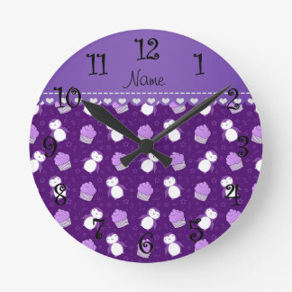 Personalized name purple penguins cupcakes stars round clock