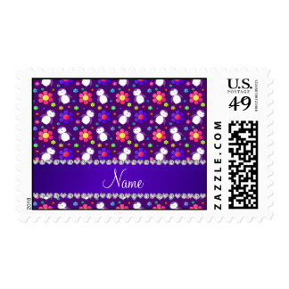 Personalized name purple penguins flowers postage