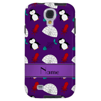 Personalized name purple penguins igloo fish squid galaxy s4 case