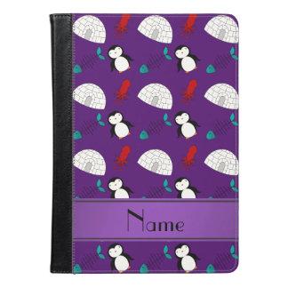 Personalized name purple penguins igloo fish squid iPad air case