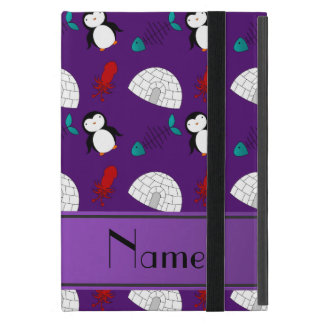 Personalized name purple penguins igloo fish squid iPad mini cover