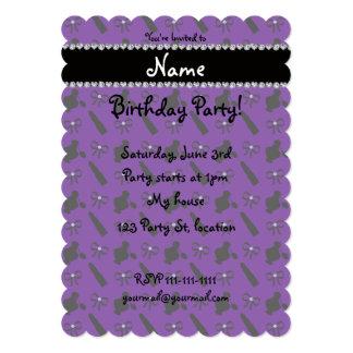 Personalized name purple perfume lipstick bows card