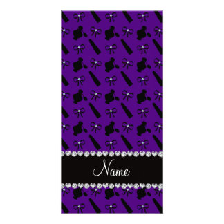 Personalized name purple perfume lipstick bows photo card