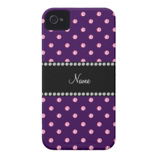 Personalized name Purple pink diamonds Case-Mate iPhone 4 Case