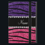 """Personalized name purple pink glitter zebra stripe iPad mini case<br><div class=""""desc"""">Chic and modern Zebra gift ideas. Purple and pink glitter zebra stripes animal print (not real glitter) pattern background black diamonds stripe (faux diamonds, not real) with hearts and dots personalized with your name gifts or monogram gifts or your initials. Ideal for bride and groom weddings, wedding showers, engagement showers,...</div>"""