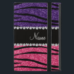 "Personalized name purple pink glitter zebra stripe iPad mini case<br><div class=""desc"">Chic and modern Zebra gift ideas. Purple and pink glitter zebra stripes animal print (not real glitter) pattern background black diamonds stripe (faux diamonds, not real) with hearts and dots personalized with your name gifts or monogram gifts or your initials. Ideal for bride and groom weddings, wedding showers, engagement showers,...</div>"
