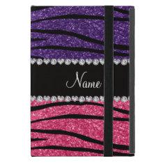 Personalized name purple pink glitter zebra stripe iPad mini cases at Zazzle