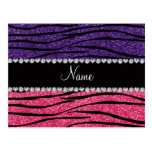 Personalized name purple pink glitter zebra stripe postcard