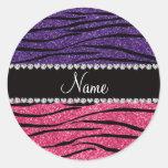 Personalized name purple pink glitter zebra stripe classic round sticker