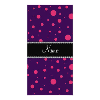 Personalized name purple pink polka dots photo card