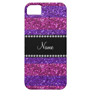 Personalized name purple pink stripes glitter iPhone SE/5/5s case