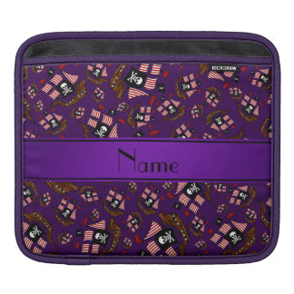 Personalized name purple pirate ships iPad sleeves