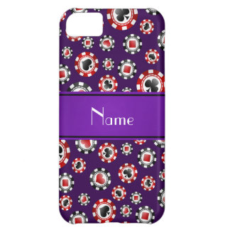 Personalized name purple poker chips iPhone 5C covers