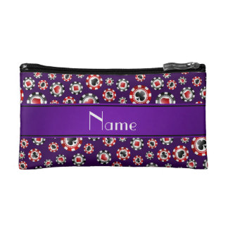 Personalized name purple poker chips cosmetic bag