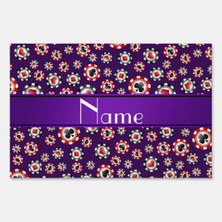 Personalized name purple poker chips lawn signs
