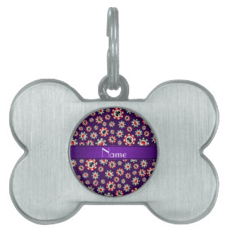 Personalized name purple poker chips pet tag