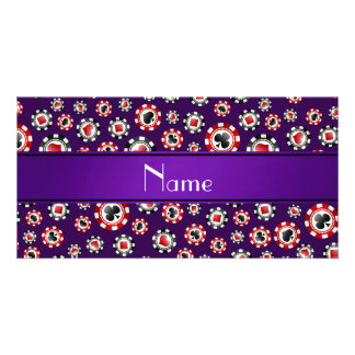 Personalized name purple poker chips personalized photo card