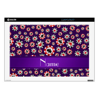 "Personalized name purple poker chips decal for 17"" laptop"