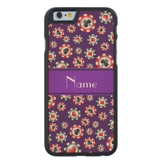 Personalized name purple poker chips carved® maple iPhone 6 slim case