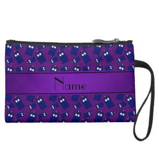 Personalized name purple police box wristlet clutch