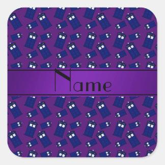 Personalized name purple police box sticker