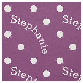 Personalized Name Purple Polka Dot Fabric