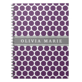 Personalized Name Purple Polka Dots Pattern Notebook